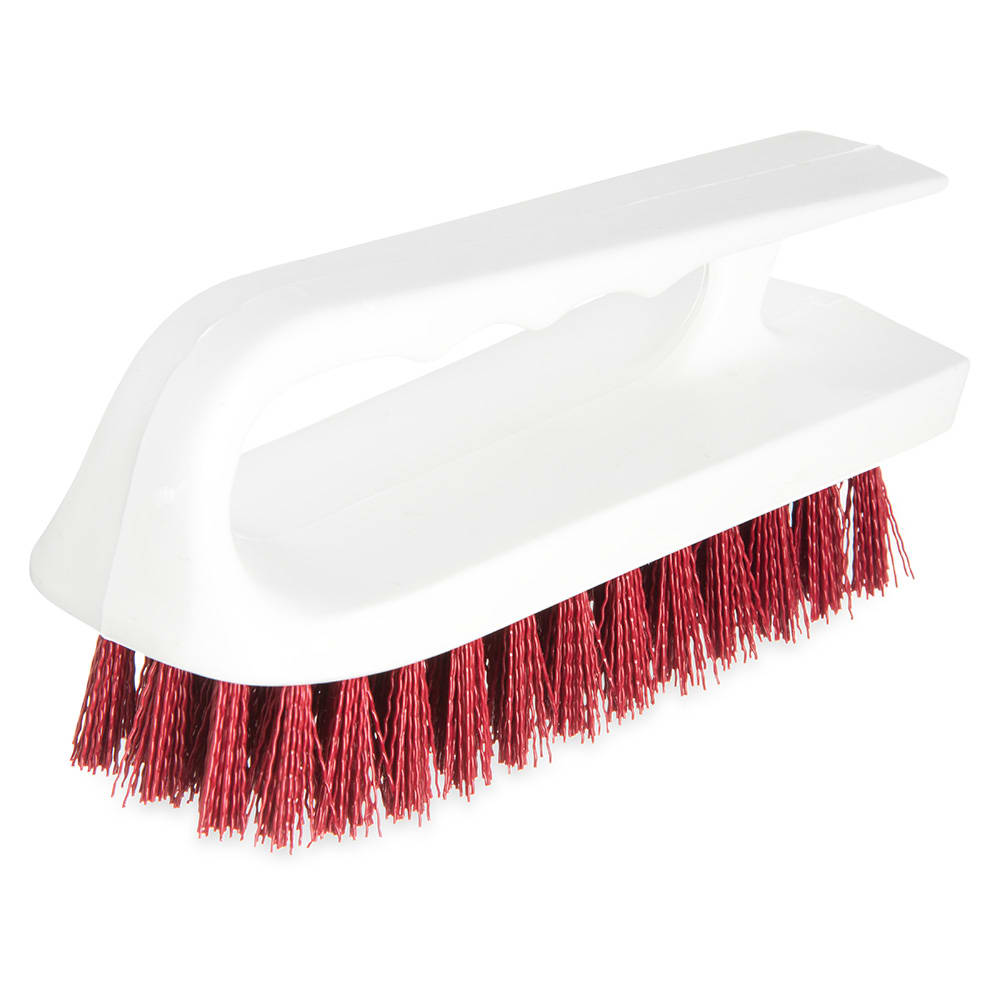 "Carlisle 4002405 6"" Bake Pan Lip Brush - Poly/Plastic, Red"