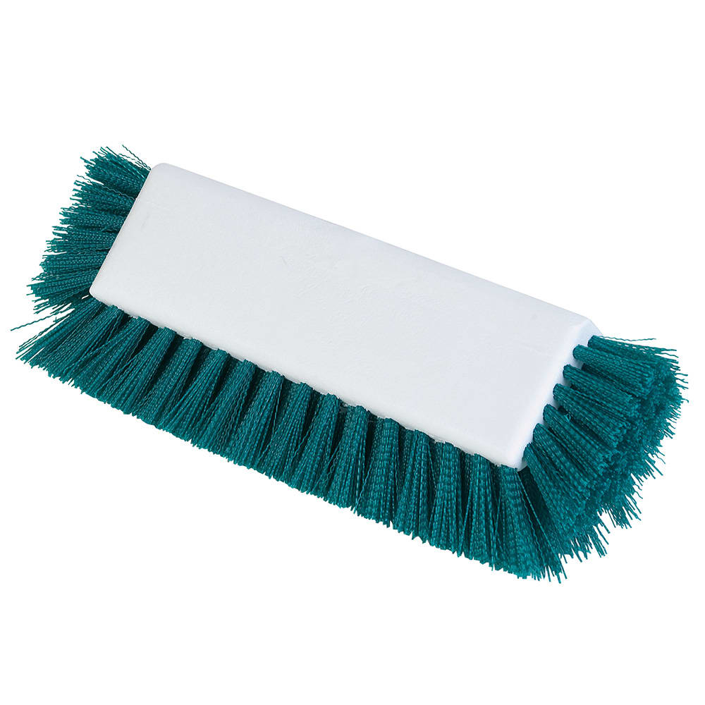 "Carlisle 4042209 10"" Dual Surface Floor Scrub Brush Head - Poly/Plastic, Green"