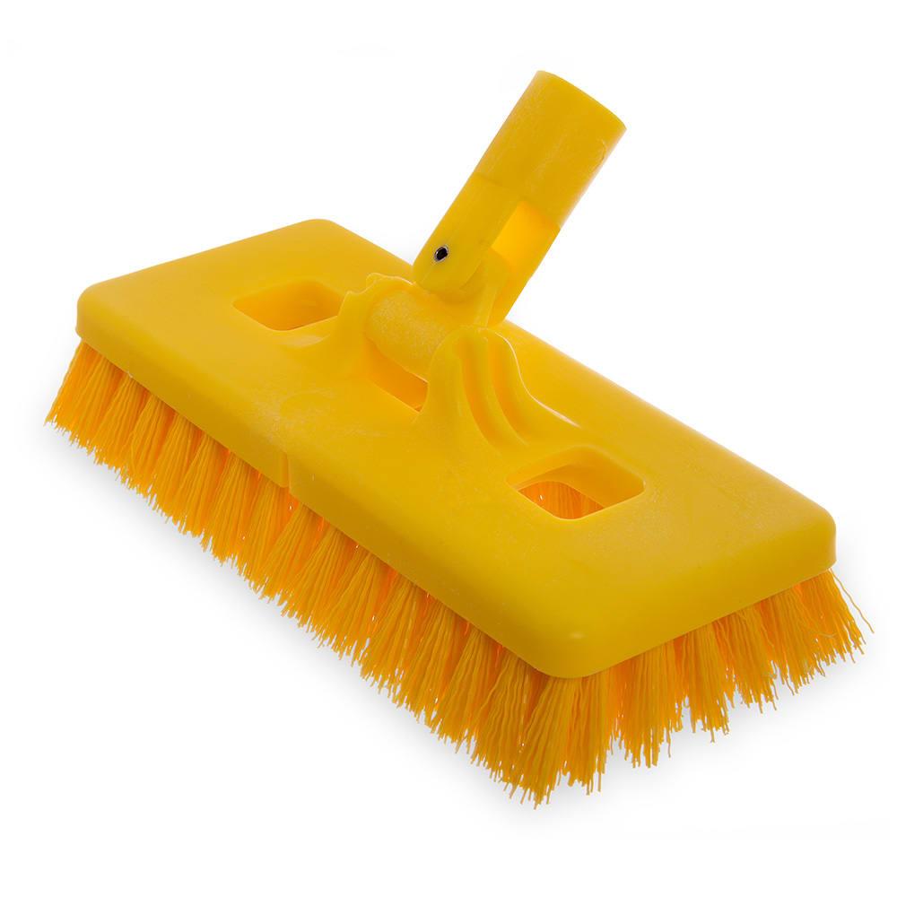 "Carlisle 4043000 9"" Swivel Scrub Floor Brush Head - Plastic Block, Yellow"
