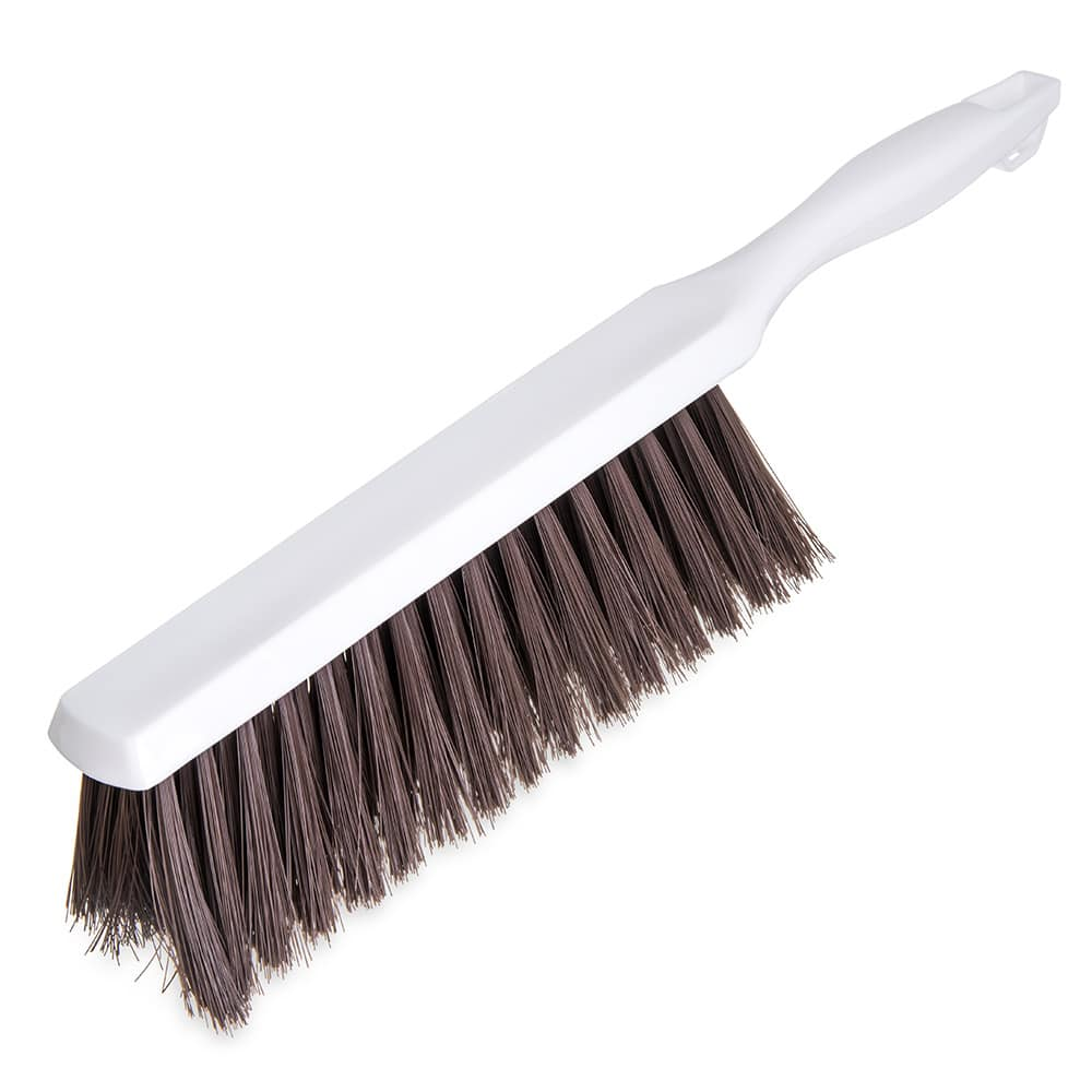 "Carlisle 4048001 13"" Counter Bench Brush w/ White Handle & Brown Soft Polyester Bristles, BPA-Free"