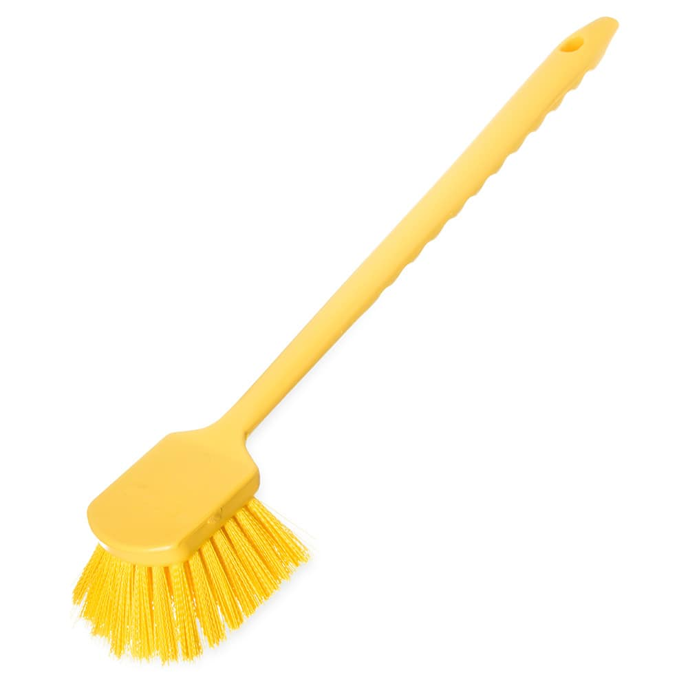 "Carlisle 40501C04 20"" Scrub Brush w/ Soft Polyester Bristles, Yellow"
