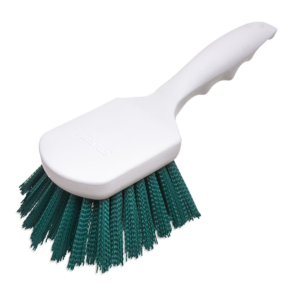 "Carlisle 4054109 8"" Utility Scrub Brush - Angled, Poly, Green"