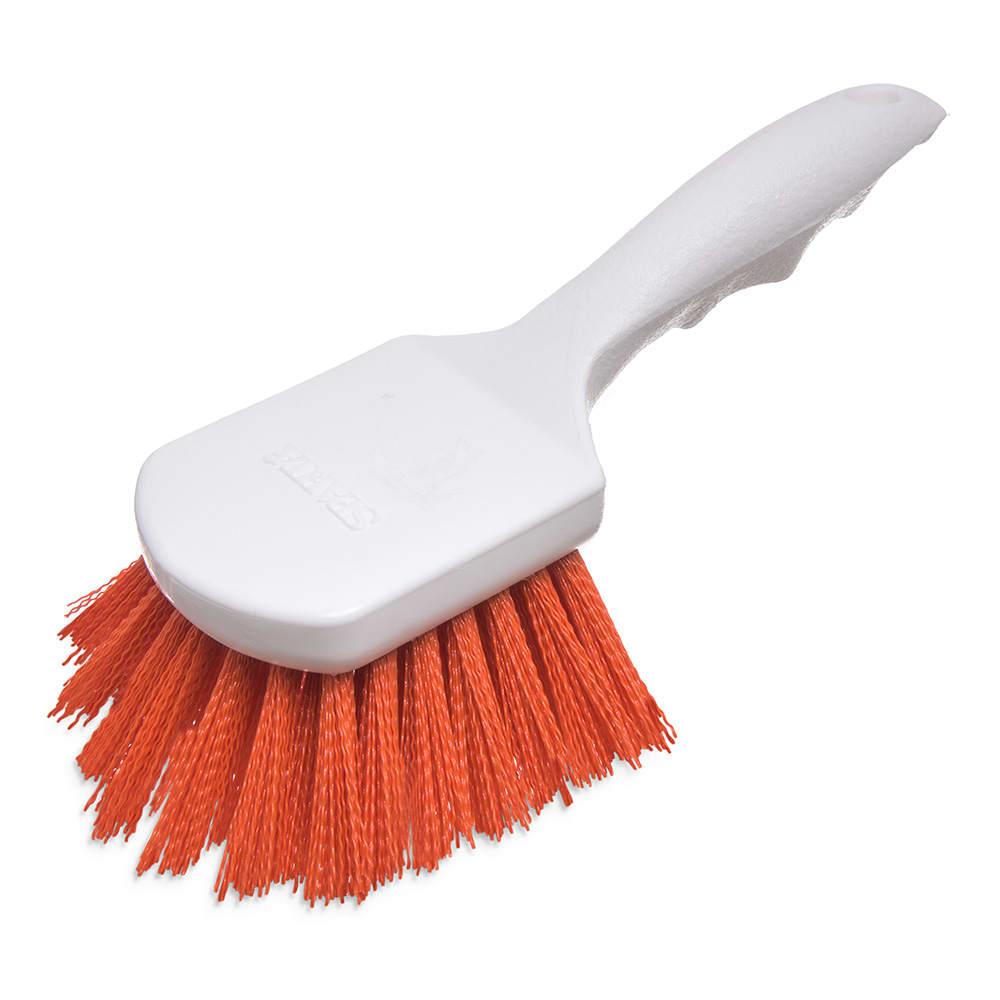 """Carlisle 4054124 8"""" Utility Scrub Brush - Angled, Poly, Orange"""