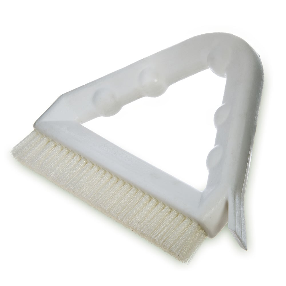 "Carlisle 4132302 9"" Triangular Tile & Grout Brush w/ Polyester Bristles, White"
