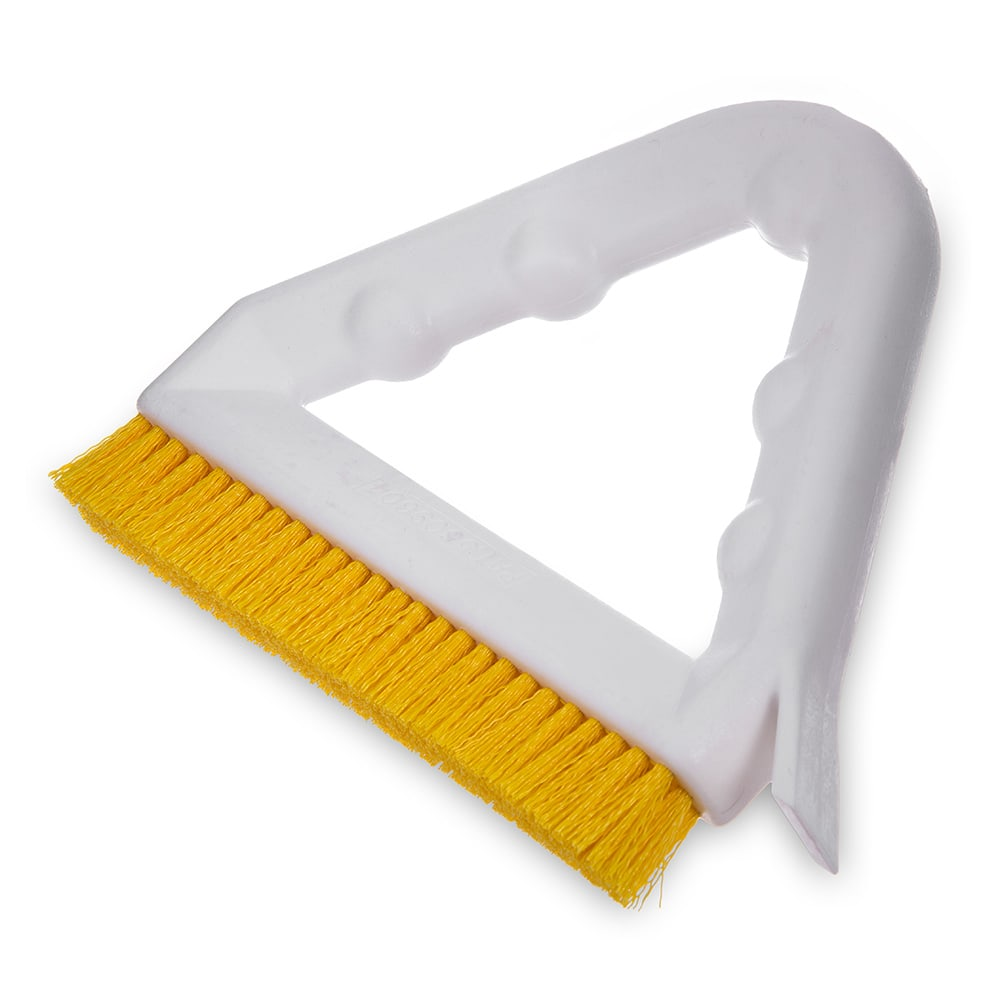 "Carlisle 4132304 9"" Triangular Tile & Grout Brush w/ Polyester Bristles, Yellow"