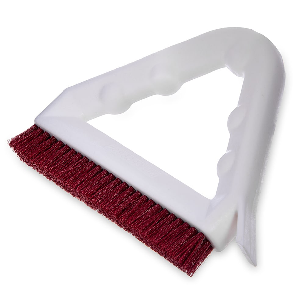 "Carlisle 4132305 9"" Triangular Tile & Grout Brush w/ Polyester Bristles, Red"