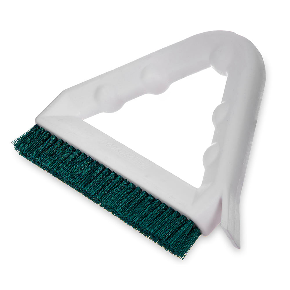 "Carlisle 4132309 9"" Triangular Tile & Grout Brush w/ Polyester Bristles, Green"