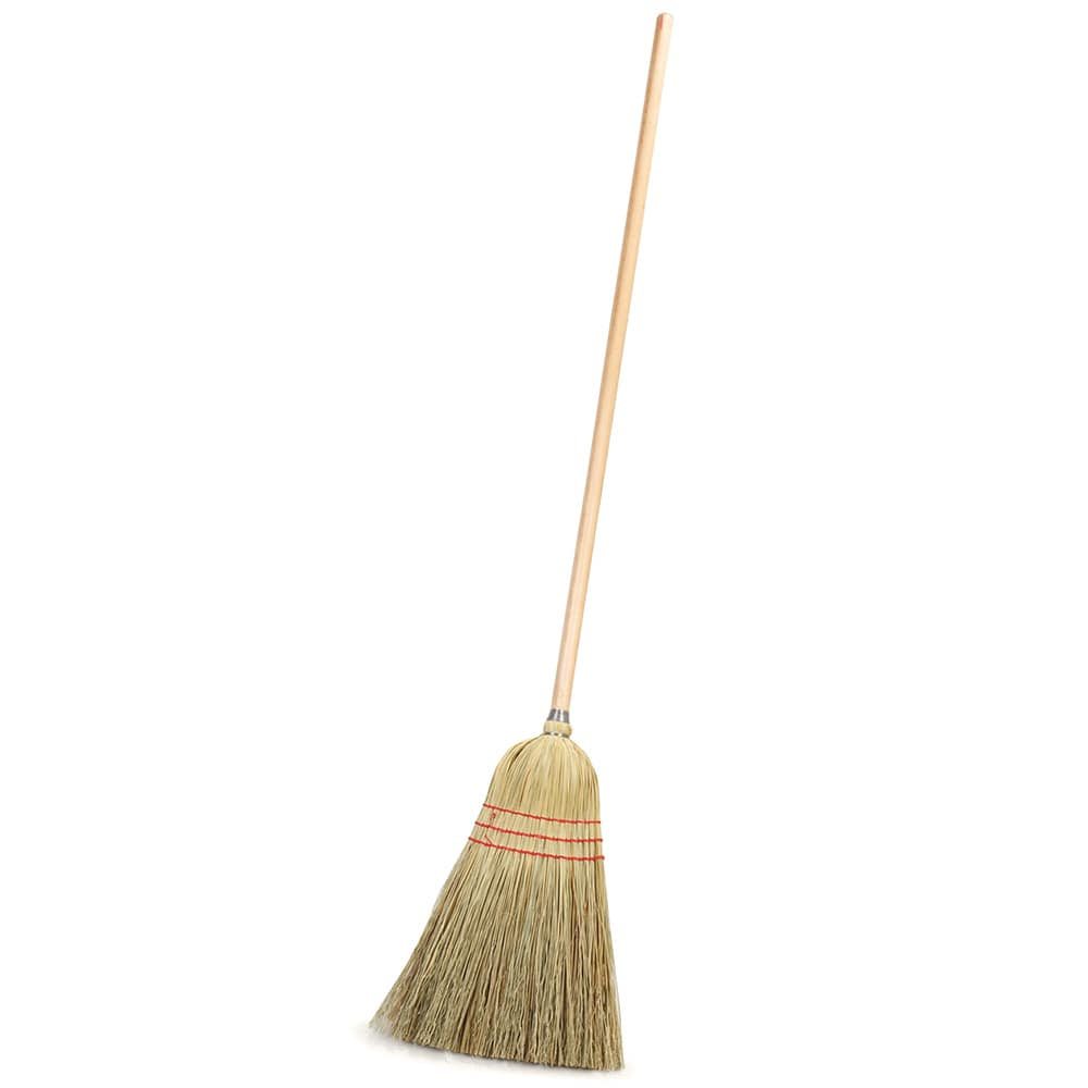 "Carlisle 4134967 10"" Housekeeping Corn Broom - 55"" Wood Handle"
