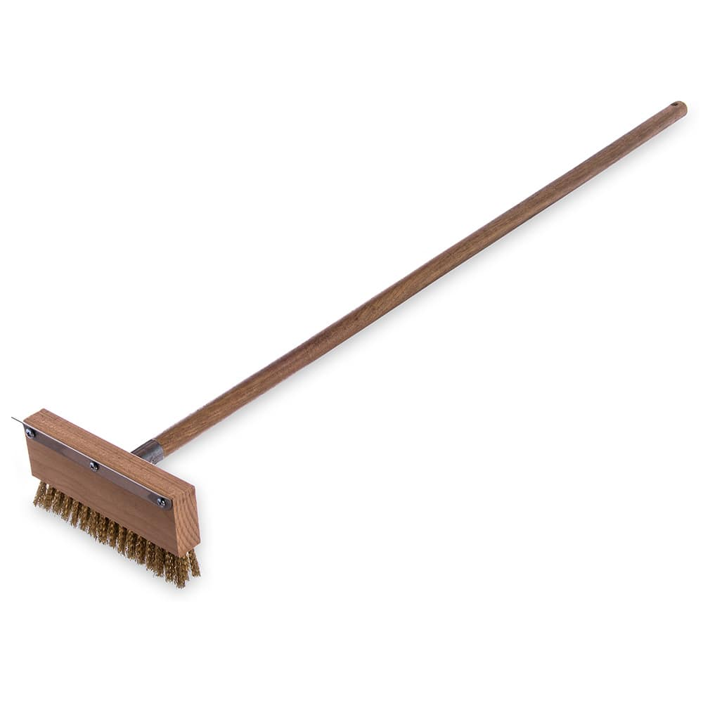 """Carlisle 4152000 42"""" Oven Brush & Scraper - Crimped Brass Wire Bristles, Stainless/Wood"""