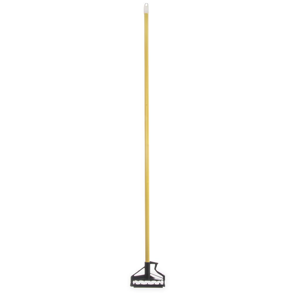 "Carlisle 4166404 60"" Quik-Release™ Mop Handle w/ Plastic Head, Fiberglass, Yellow"