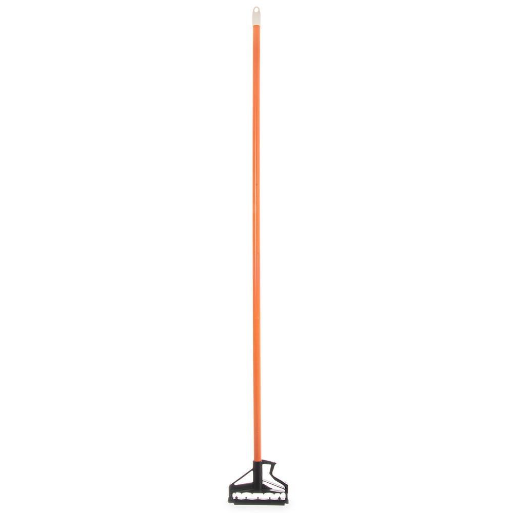 "Carlisle 4166424 60"" Quik-Release™ Mop Handle w/ Plastic Head, Fiberglass, Orange"