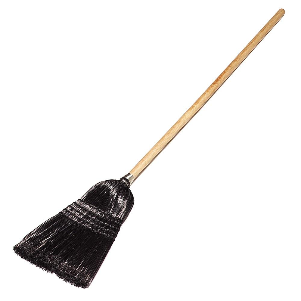 Carlisle 4168003 Maid/Parlor Broom - Foam Gripped Wood Handle, Black Bristles