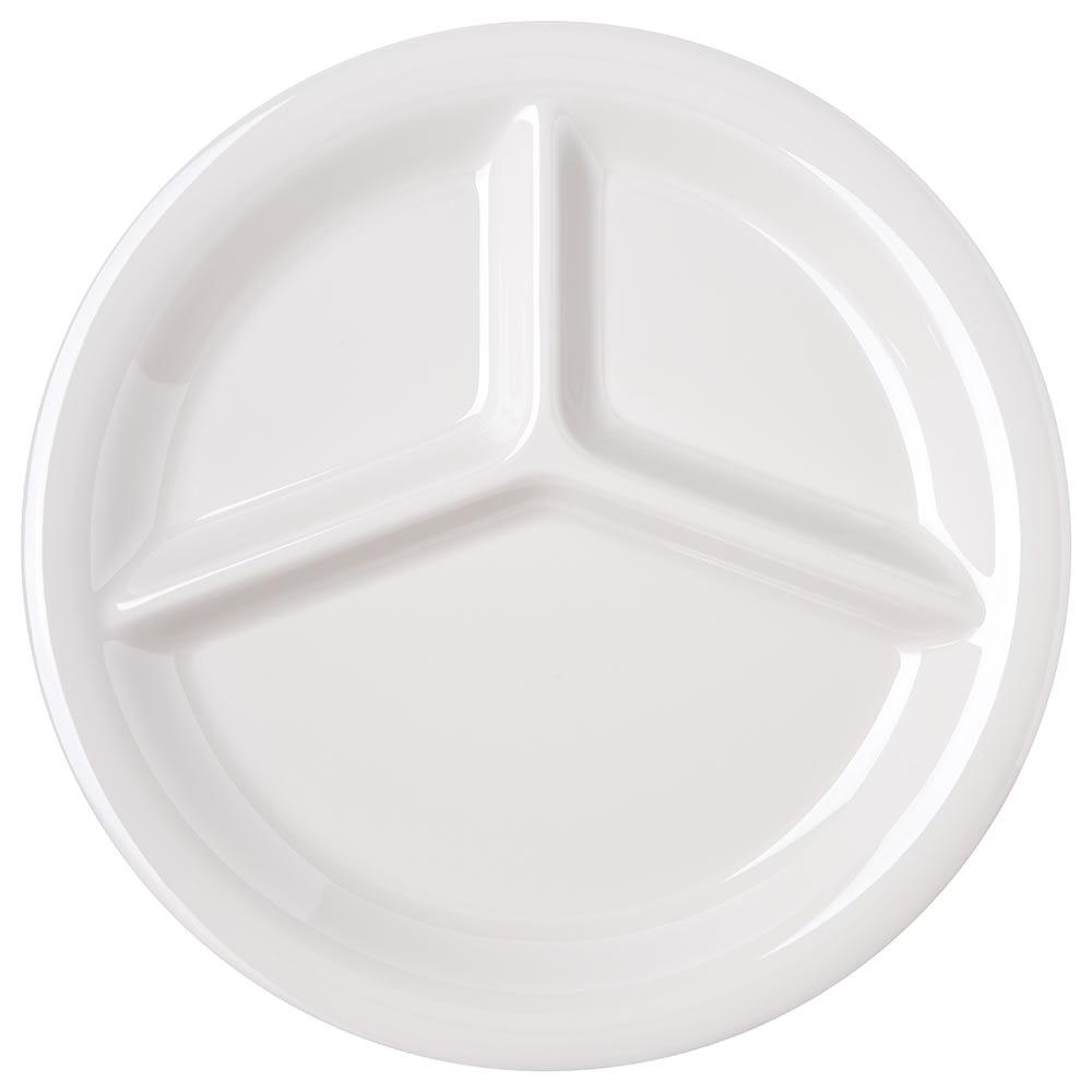 "Carlisle 4300042 10.5"" Round Plate w/ (3) Compartments, Melamine, Bone"