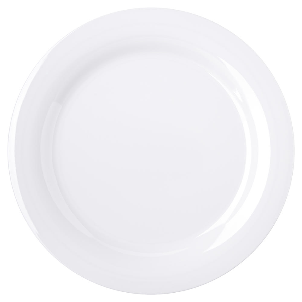 "Carlisle 4300202 10.5"" Round Dinner Plate w/ Narrow Rim, Melamine, White"