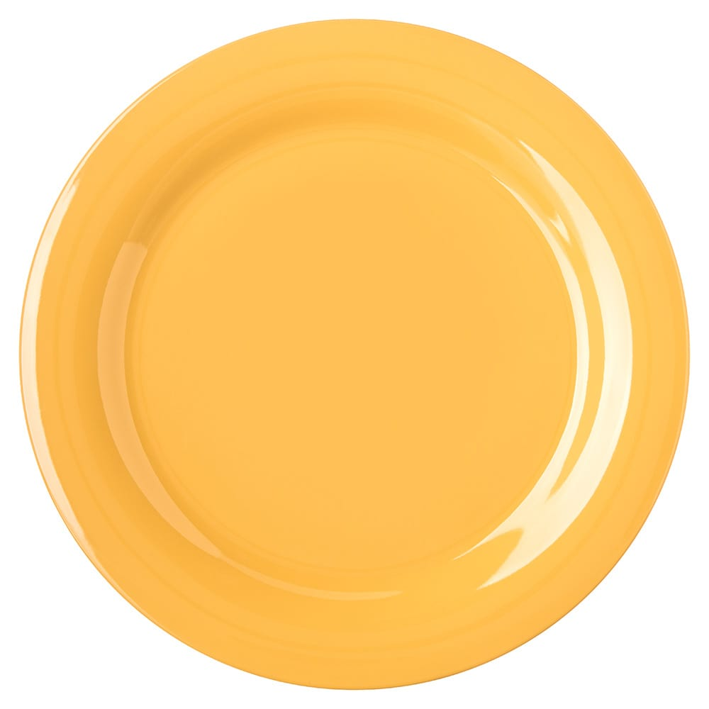"Carlisle 4300222 10.5"" Round Dinner Plate w/ Narrow Rim, Melamine, Honey Yellow"