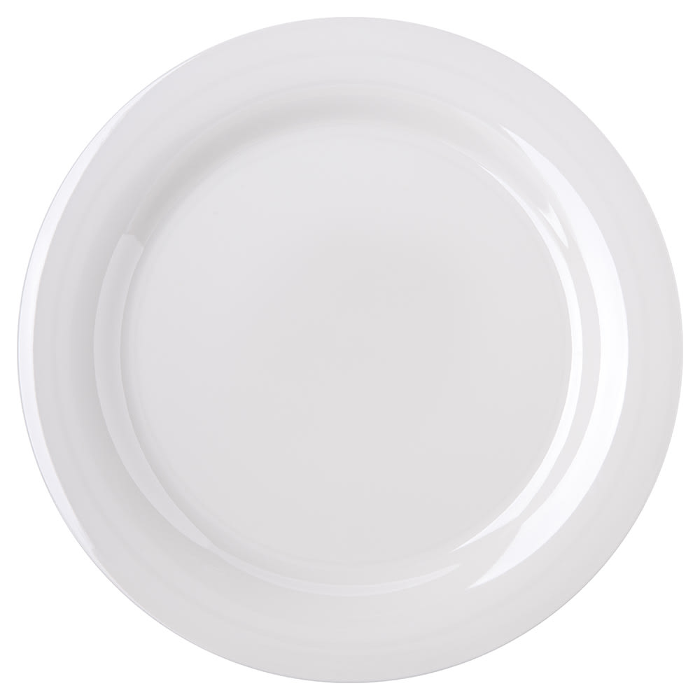 "Carlisle 4300242 10.5"" Round Dinner Plate w/ Narrow Rim, Melamine, Bone"