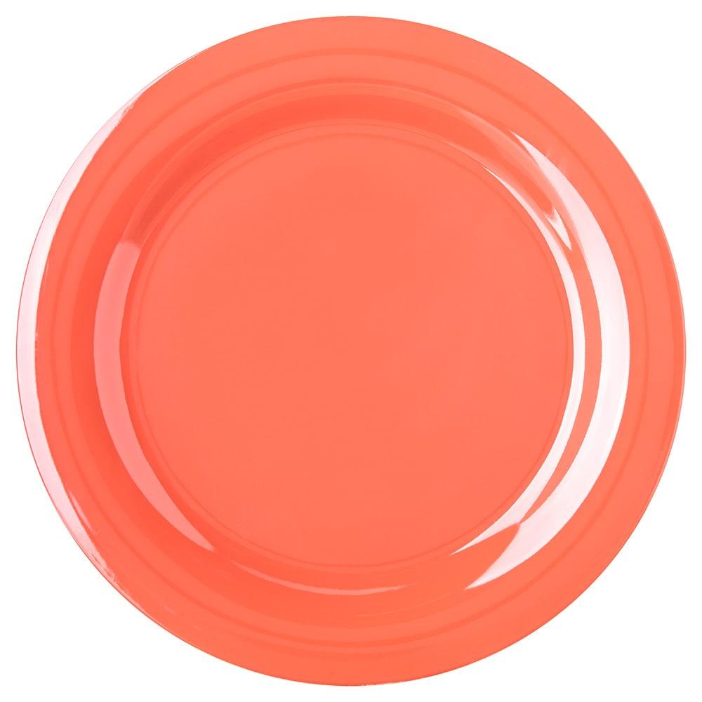 "Carlisle 4300252 10.5"" Round Dinner Plate w/ Narrow Rim, Melamine, Sunset Orange"