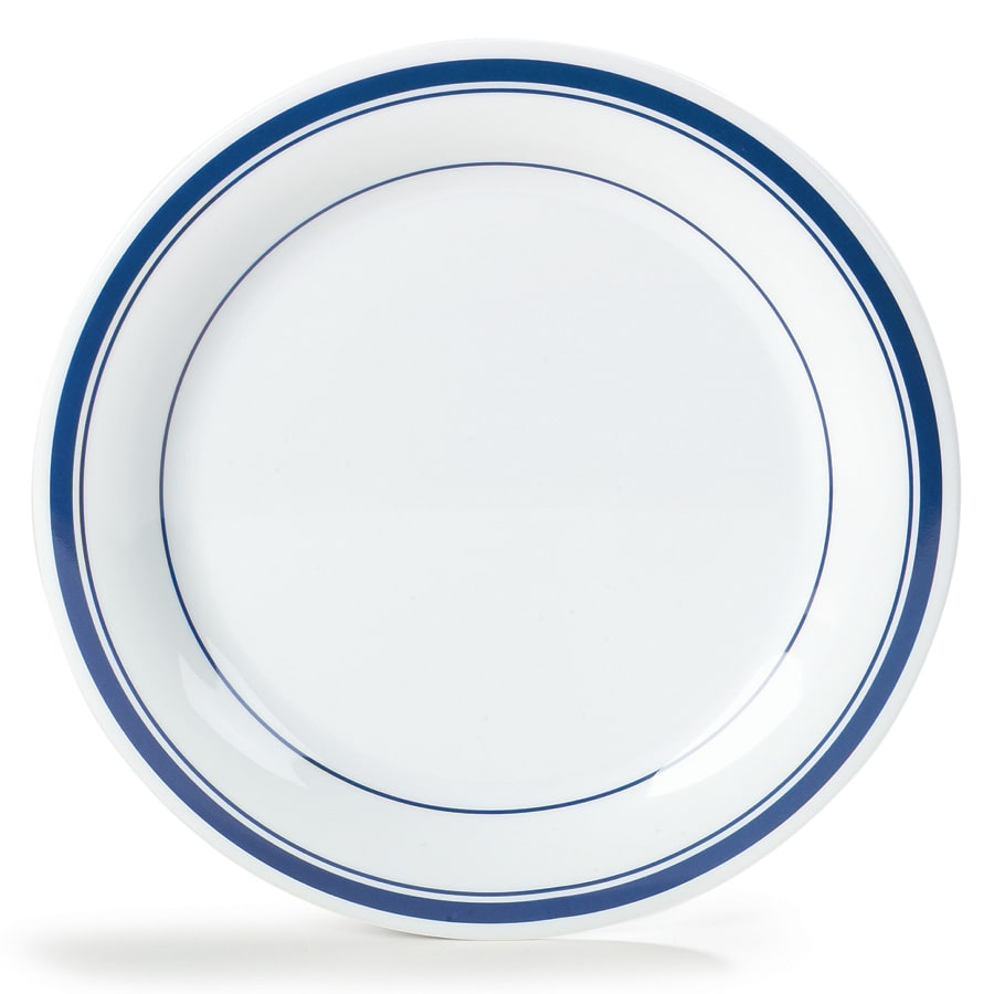 "Carlisle 43003912 10.5"" Round Dinner Plate w/ Narrow Rim, Melamine, London on Bone"