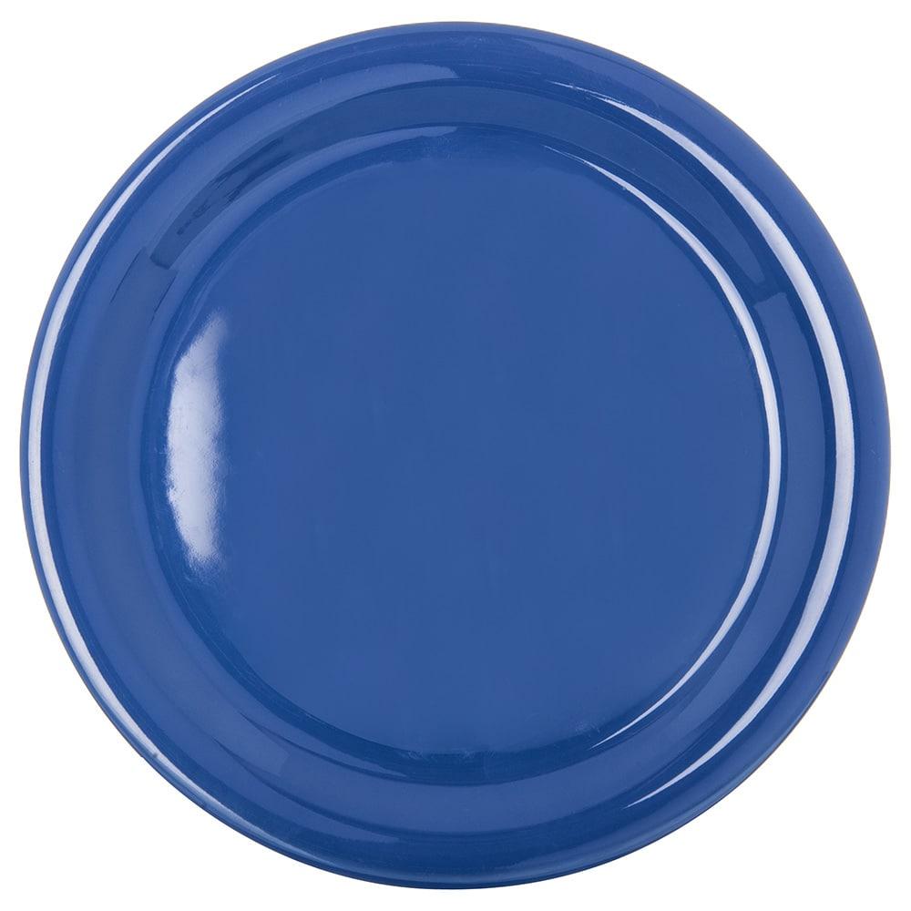 "Carlisle 4300414 9"" Round Dinner Plate w/ Narrow Rim, Melamine, Ocean Blue"