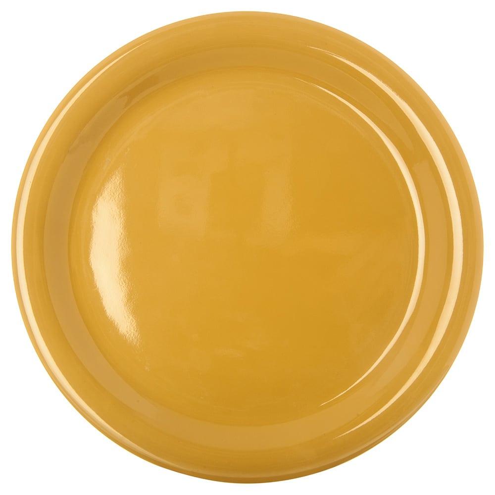 "Carlisle 4300422 9"" Round Dinner Plate w/ Narrow Rim, Melamine, Honey Yellow"