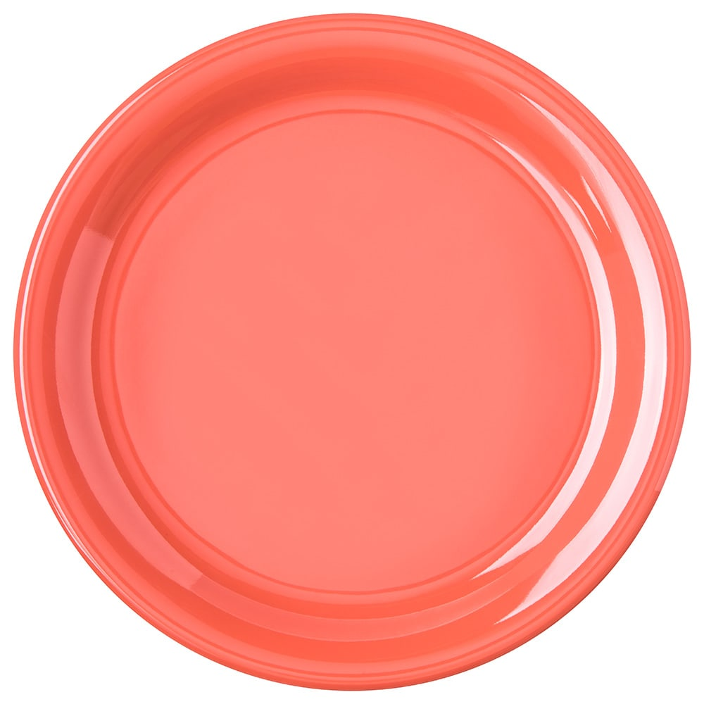 "Carlisle 4300452 9"" Round Dinner Plate w/ Narrow Rim, Melamine, Sunset Orange"