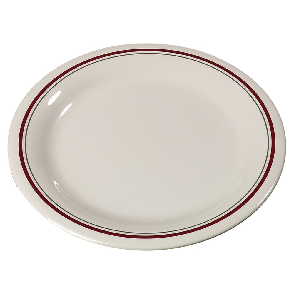 "Carlisle 43005903 9"" Round Dinner Plate w/ Narrow Rim, Melamine, Morocco on Bone"
