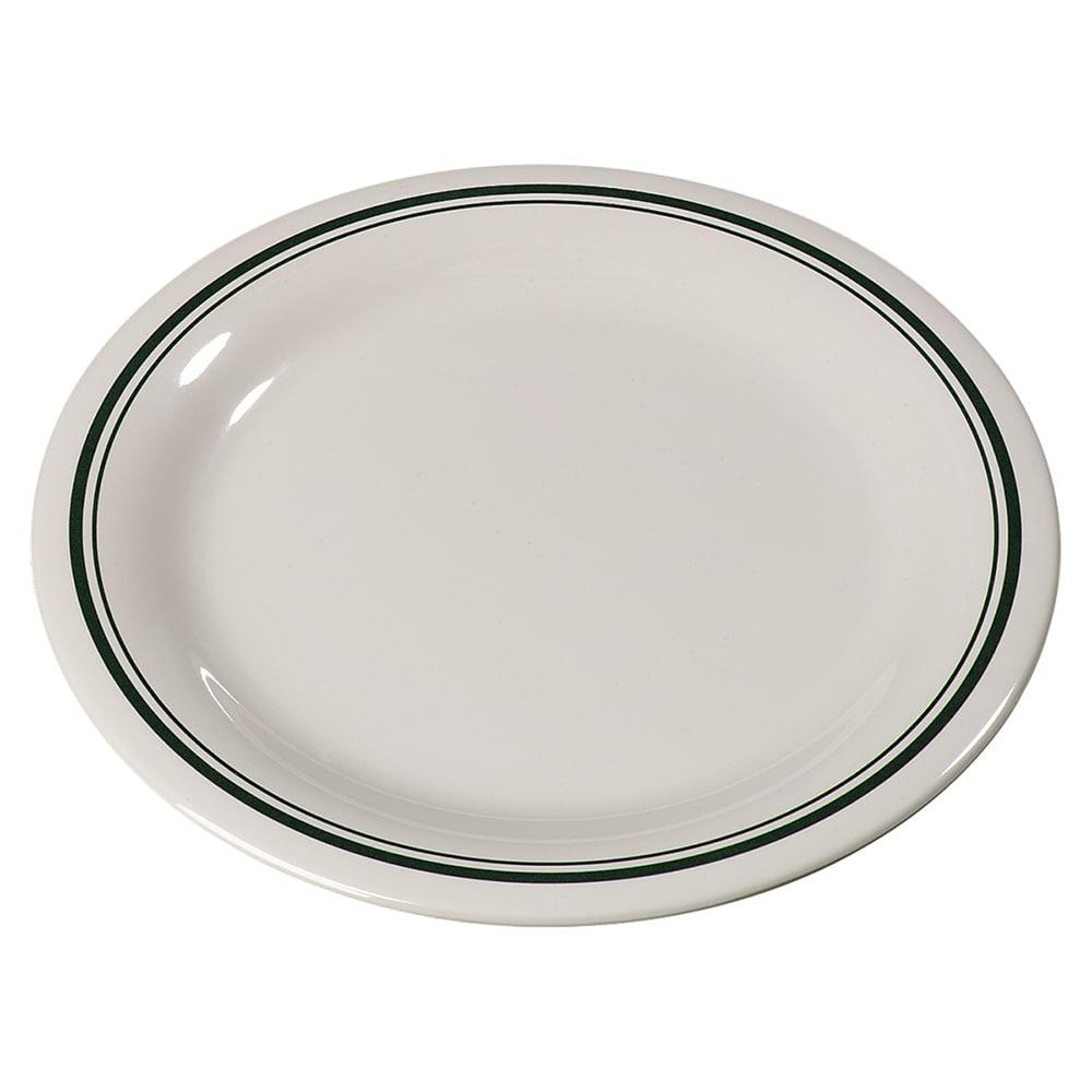 "Carlisle 43005905 9"" Round Dinner Plate w/ Narrow Rim, Melamine, Orleans on Bone"