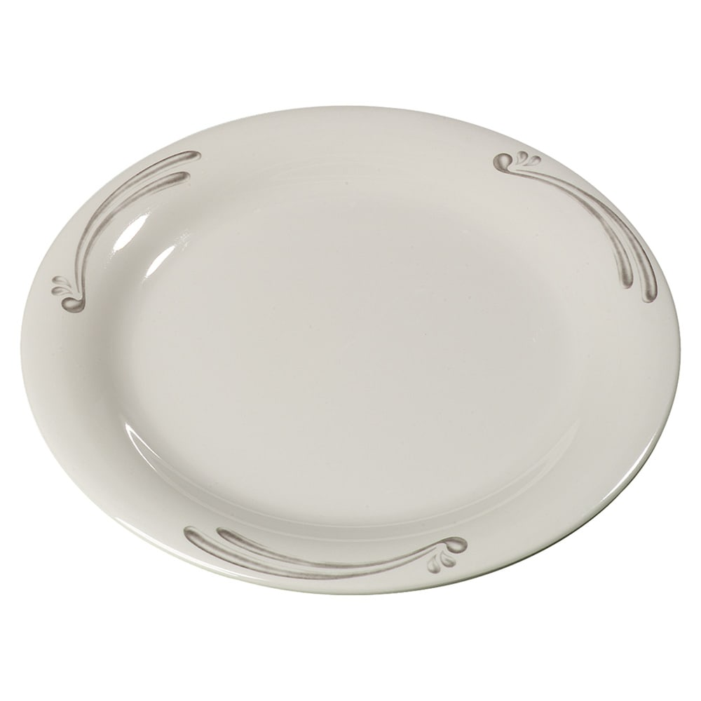 "Carlisle 43005909 9"" Round Dinner Plate w/ Narrow Rim, Melamine, Versailles on Bone"