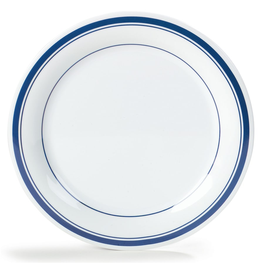 "Carlisle 43005912 9"" Round Dinner Plate w/ Narrow Rim, Melamine, London on White"