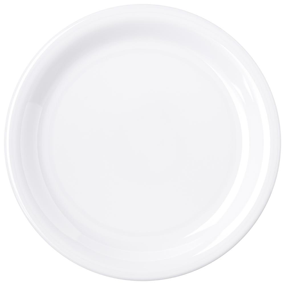 "Carlisle 4300602 7.25"" Round Dinner Plate w/ Narrow Rim, Melamine, White"