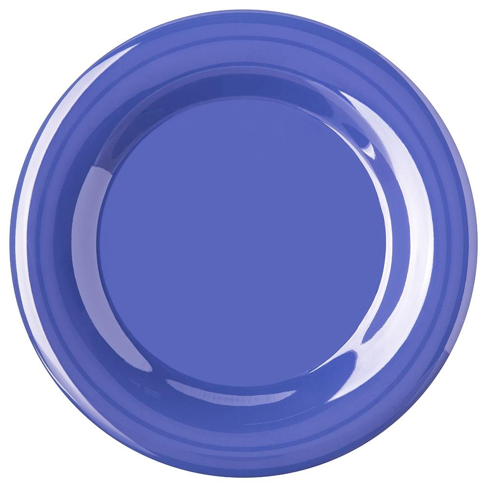 "Carlisle 4301014 10.5"" Round Dinner Plate w/ Wide Rim, Melamine, Ocean Blue"