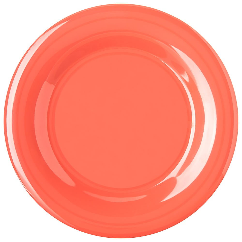 "Carlisle 4301052 10.5"" Round Dinner Plate w/ Wide Rim, Melamine, Sunset Orange"