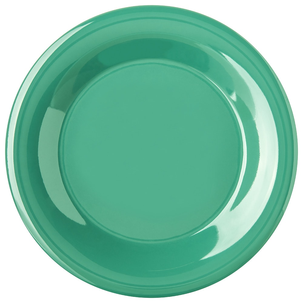 "Carlisle 4301209 9"" Round Dinner Plate w/ Wide Rim, Melamine, Meadow Green"
