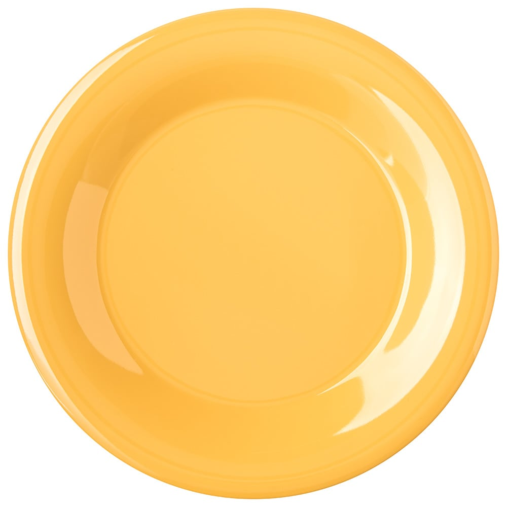 "Carlisle 4301222 9"" Round Dinner Plate w/ Wide Rim, Melamine, Honey Yellow"