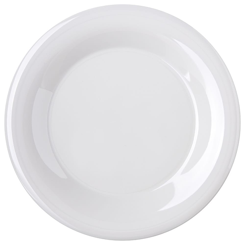 "Carlisle 4301242 9"" Round Dinner Plate w/ Wide Rim, Melamine, Bone"