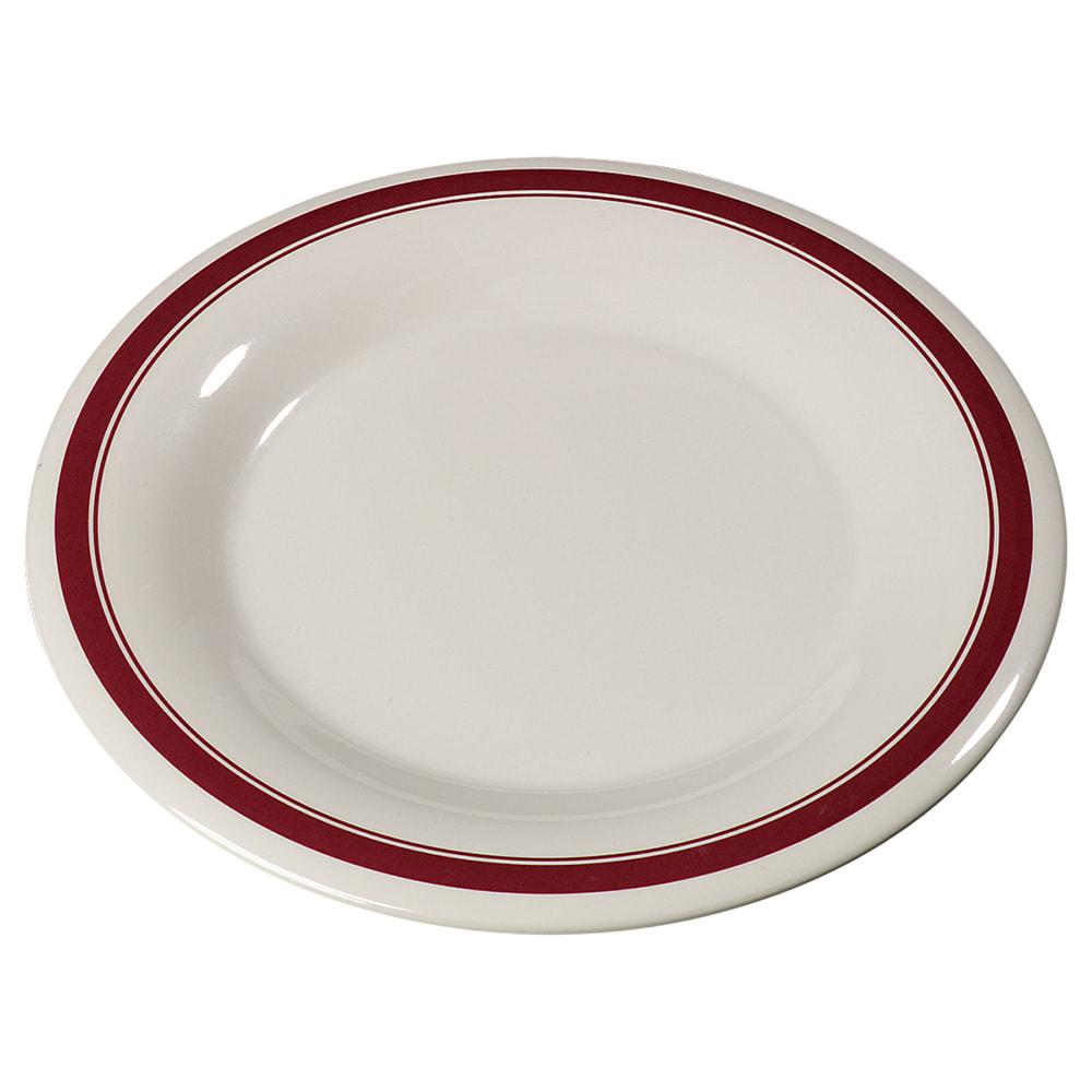 "Carlisle 43013907 9"" Round Dinner Plate w/ Wide Rim, Melamine, Roma on Bone"
