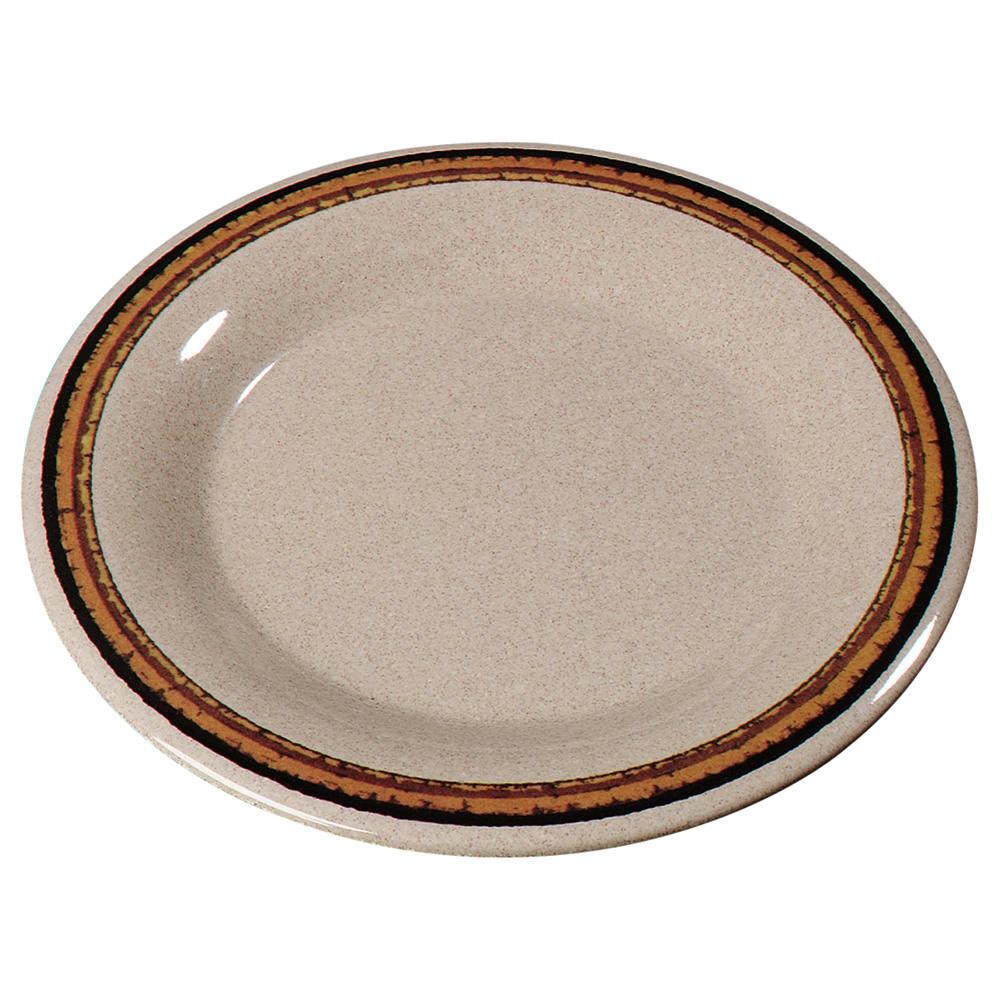"Carlisle 43013908 9"" Round Dinner Plate w/ Wide Rim, Melamine, Sierra Sand on Sand"