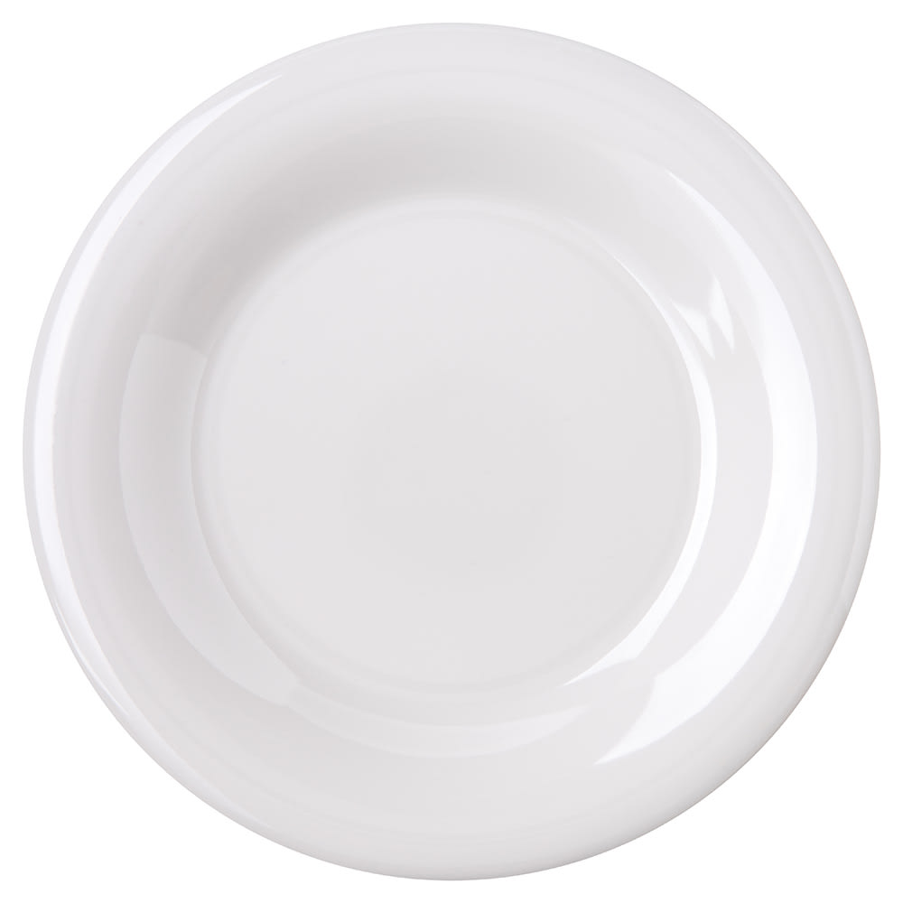 "Carlisle 4301802 6.5"" Round Pie Plate w/ Wide Rim, Melamine, White"