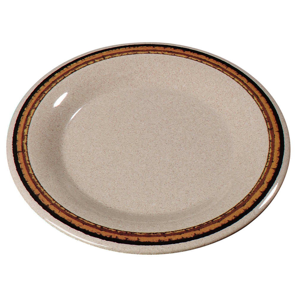 "Carlisle 43019908 6.5"" Round Pie Plate w/ Wide Rim, Melamine, Sierra Sand on Sand"