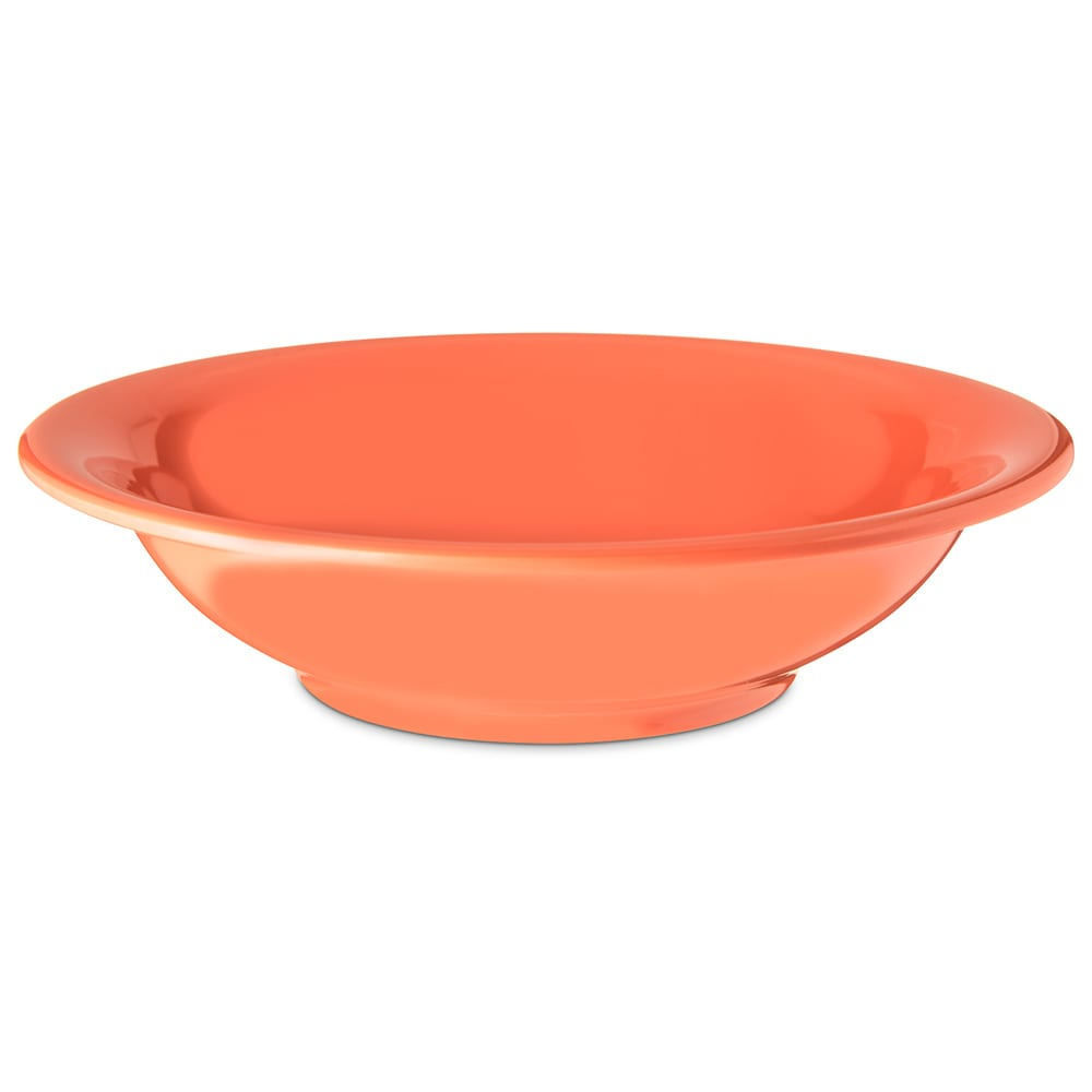 "Carlisle 4303252 7.5"" Round Rim Soup Bowl w/ 16 oz Capacity, Melamine, Sunset Orange"