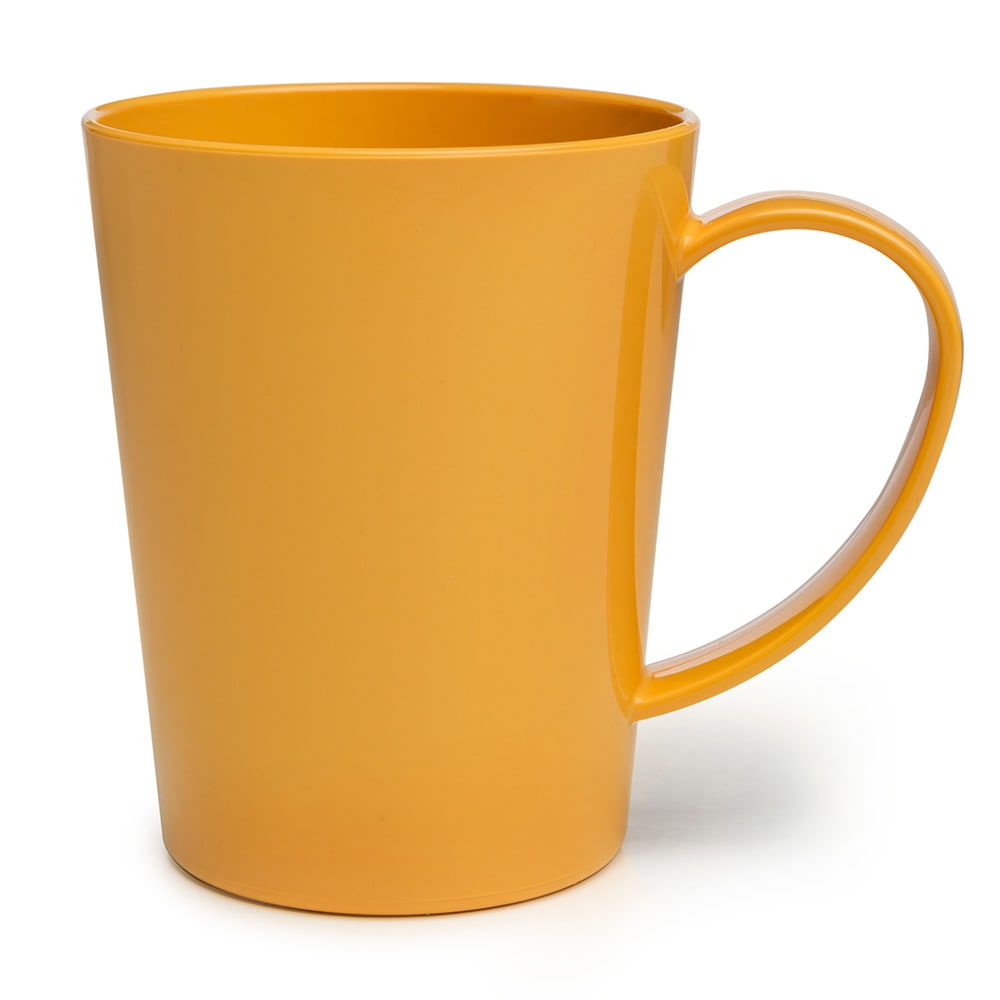 Carlisle 4306822 12-oz Nestable Mug, Easy Grip Handle - Honey Yellow