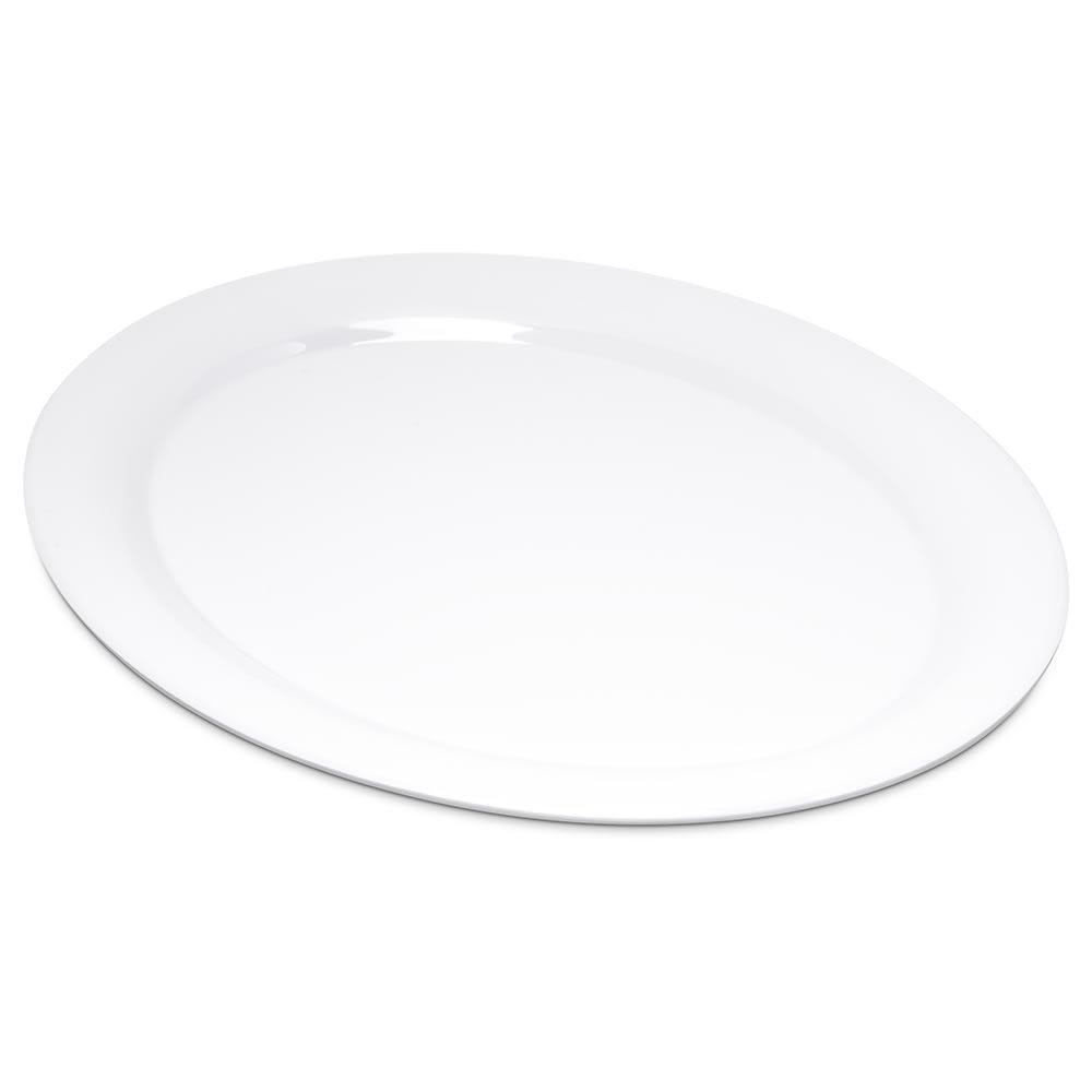 """Carlisle 4308002 Oval Platter - 13.5"""" x 10.5"""", Melamine, White"""