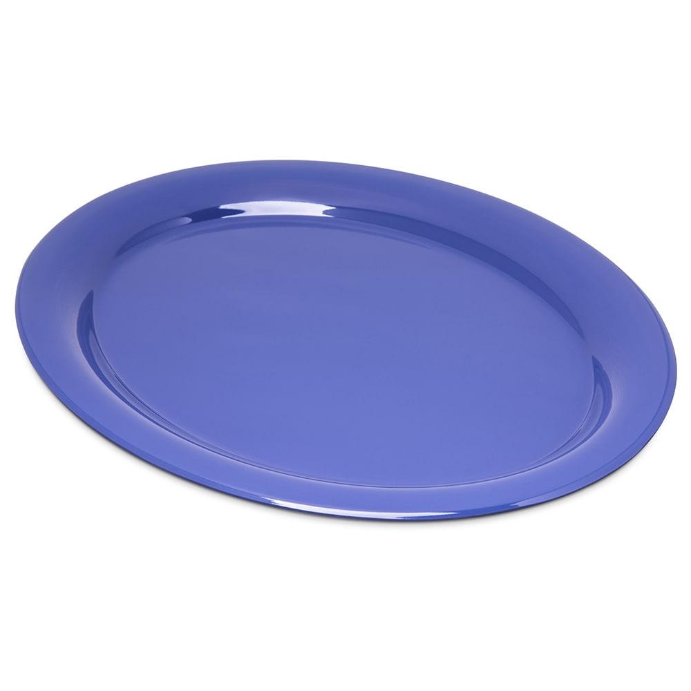 """Carlisle 4308014 Oval Platter - 13.5"""" x 10.5"""", Melamine, Ocean Blue"""