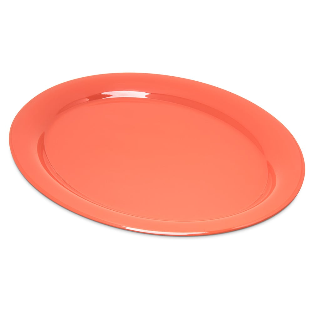 "Carlisle 4308052 Oval Platter - 13.5"" x 10.5"", Melamine, Sunset Orange"