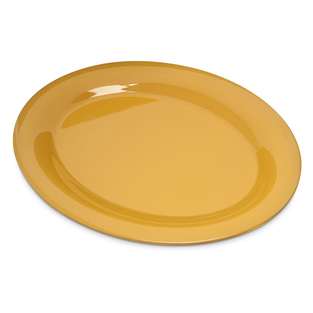 "Carlisle 4308222 Oval Platter - 12"" x 9.25"", Melamine, Honey Yellow"