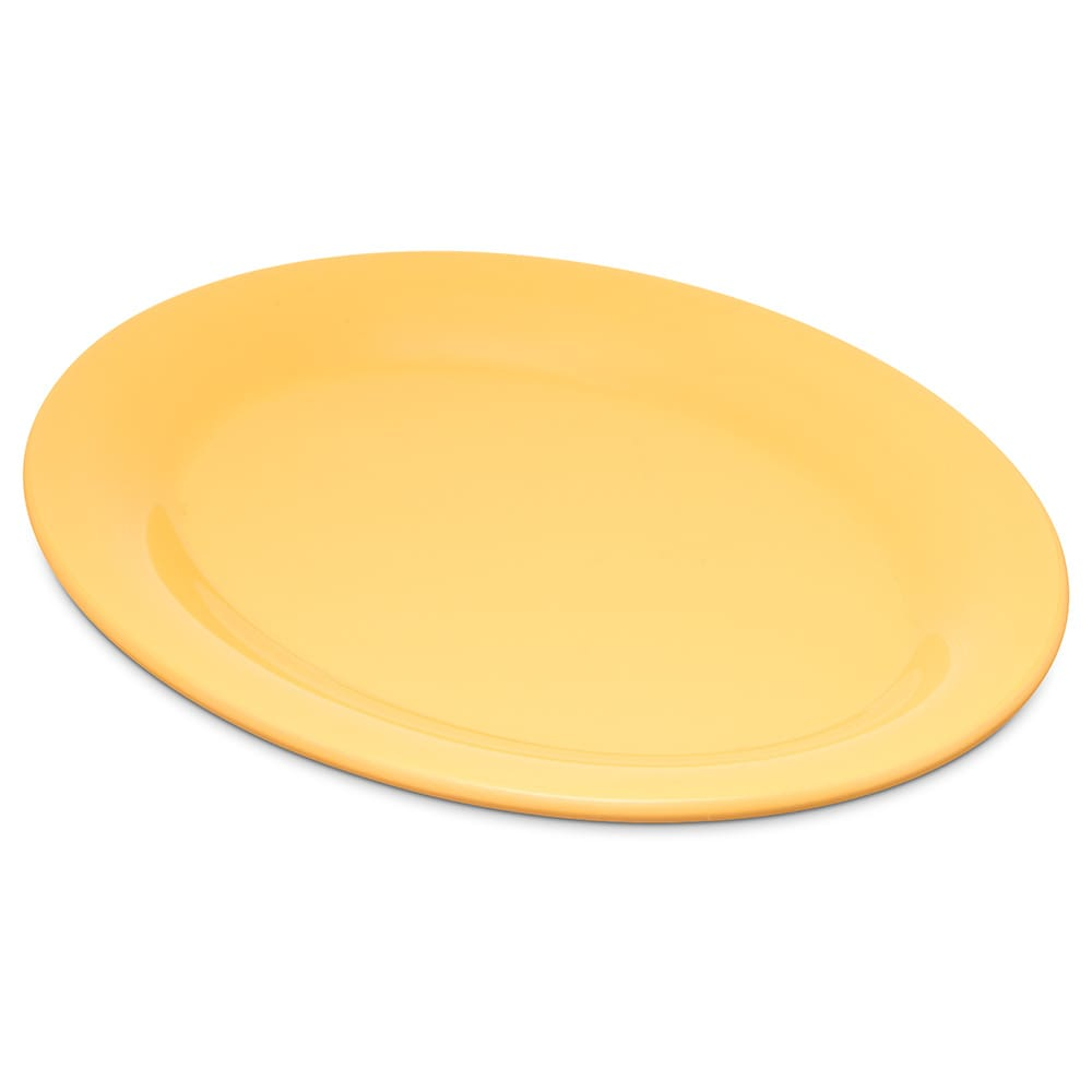 "Carlisle 4308622 Oval Platter - 9.5"" x 7.25"", Melamine, Honey Yellow"