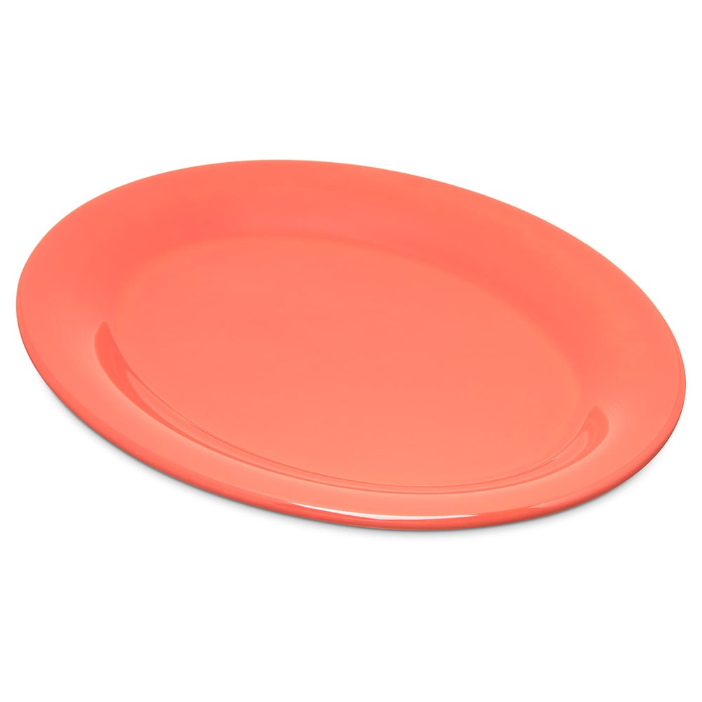 "Carlisle 4308652 Oval Platter - 9.5"" x 7.25"", Melamine, Sunset Orange"