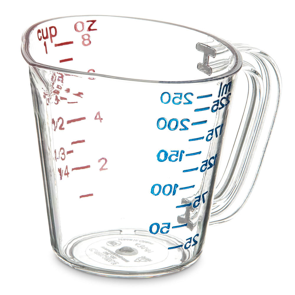 Carlisle 4314107 8 oz Oval Measuring Cup w/ Pour Spout & C-Handle, Polycarbonate, Clear