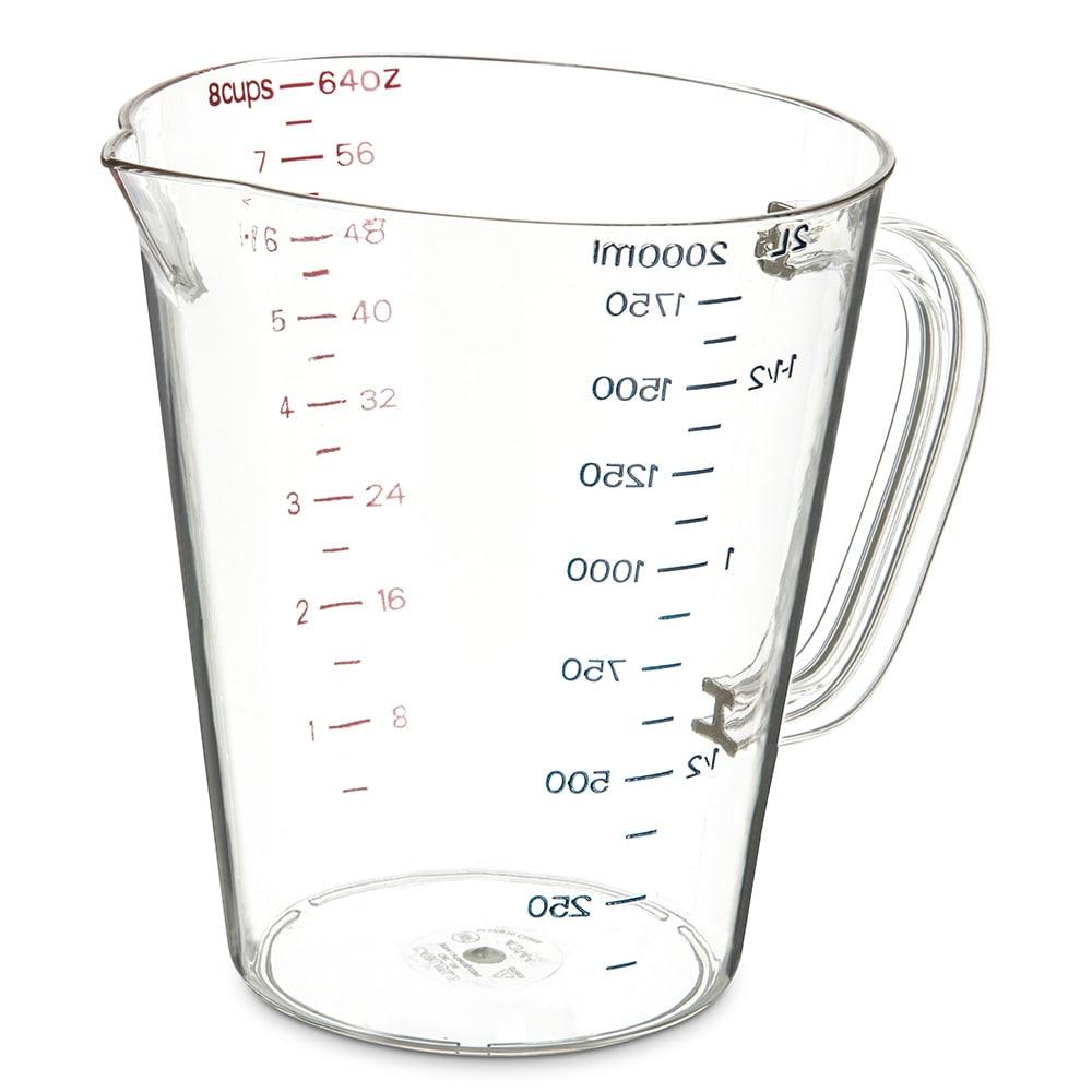 Carlisle 4314407 64 oz Oval Measuring Cup w/ Pour Spout & C-Handle, Polycarbonate, Clear
