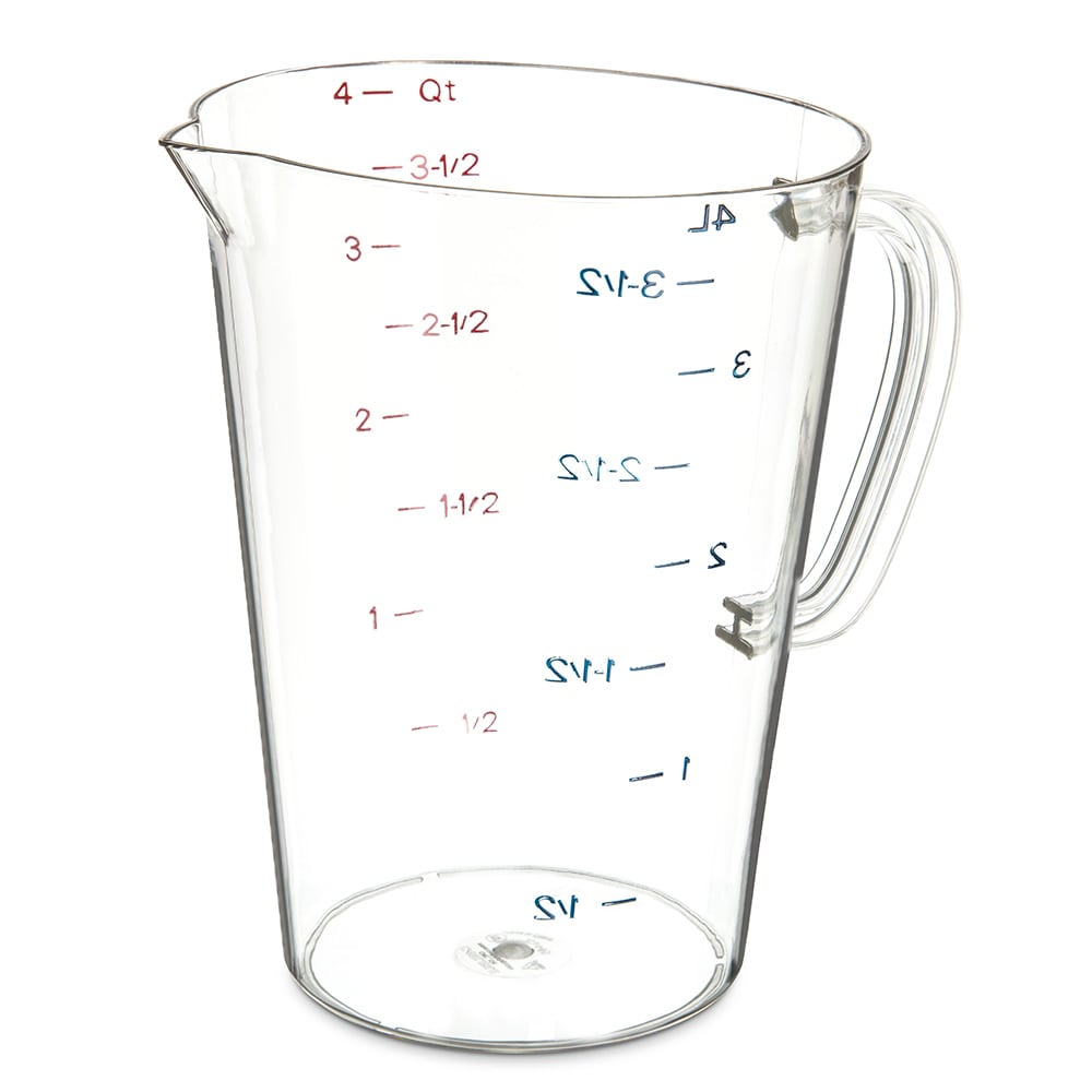 Carlisle 4314507 128-oz Oval Measuring Cup w/ Pour Spout & C-Handle, Polycarbonate, Clear
